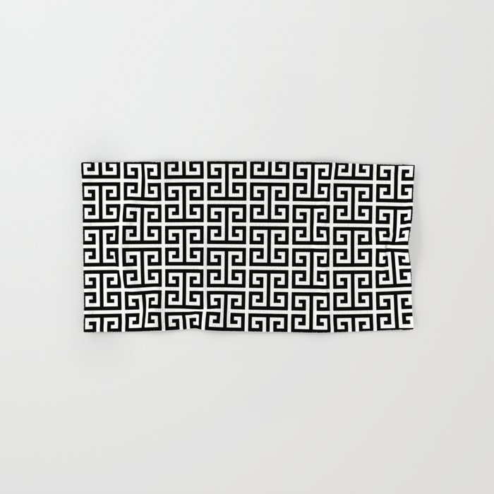 Black and White Greek Key Pattern Hand & Bath Towel