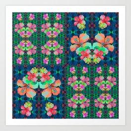 Retro Magic Hawaiian Floral Print Art Print