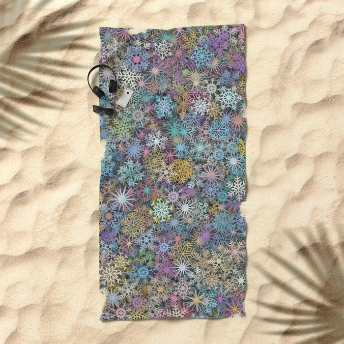 Snowflakes multicolor Beach Towel