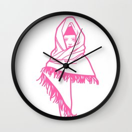 Pink scarf Wall Clock