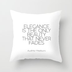 Inspirational Quote,Girls Room Decor,AUDREY HEPBURN QUOTE,Girls Bedroom Art,Fashion Print,legance Is Throw Pillow
