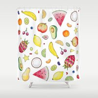 fruits Shower Curtains featuring Fruits by Hacklock