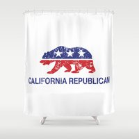political Shower Curtains featuring California Political Republican Bear Distressed by Republican