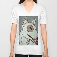 bull terrier V-neck T-shirts featuring Bull Terrier by Just Bailey Designs .com