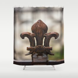 Fluer De Lis - Iron Fluer De Lis with Raindrops in New Orleans French Quarter Shower Curtain