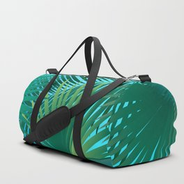 Tropical Palm Tree Leaves Branches on Blue Sky Summer Collection Duffle Bag