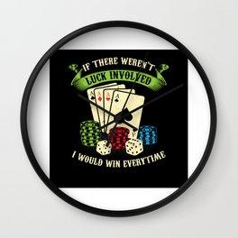 Poker Set Poker Face Gift Idea Design Motif Wall Clock