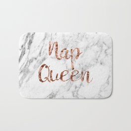 Nap queen - rose gold on marble Bath Mat