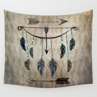 bow Wall Tapestries featuring Bow, Arrow, and Feathers by naturessol