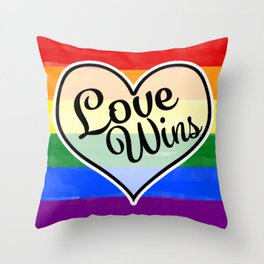 Pride Flag Love is Love-Water Color Graphic  Design  Throw Pillow