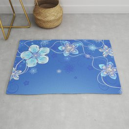 Blue background with silver flowers Rug