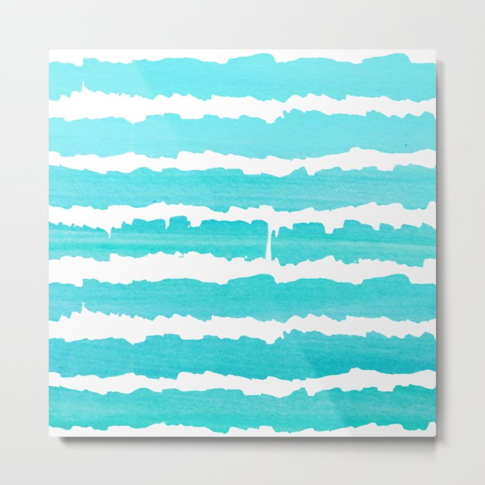 Maritime pattern- aqua handpainted stripes on clear white- horizontal Metal Print