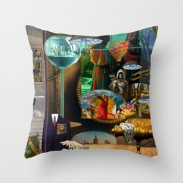 The Desert and the Smoky Town Throw Pillow