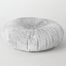 Shiny Silver Sequins, Silver Square Pattern, Shimmer Silver Pattern Floor Pillow