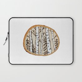 Winter Forest Scene Wood-burned Painting — Pyrography White Forest Pine Tree Painting Laptop Sleeve