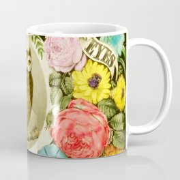 Wise Owl Sitting on a Branch Surrounded by Flowers Coffee Mug
