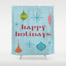 Mid Century Happy Holidays Shower Curtain