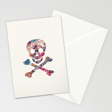 Pink Teal Vintage Floral Pattern Skull Cross Bones Stationery Cards