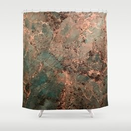 Marble Emerald Copper Blue Green Shower Curtain
