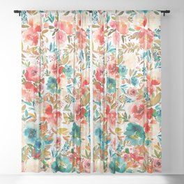 Red Turquoise Teal Floral Watercolor Sheer Curtain