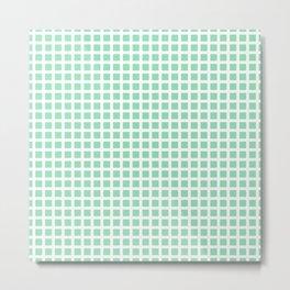 Grid Pattern 312 Mint Green Metal Print
