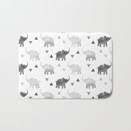 Elephants and Triangles - Silver Bath Mat