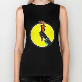 Black Plumber Hand Raising Monkey Wrench Circle Biker Tank