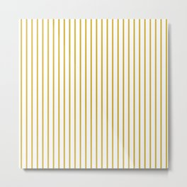 Primrose Yellow Pinstripe on White Metal Print