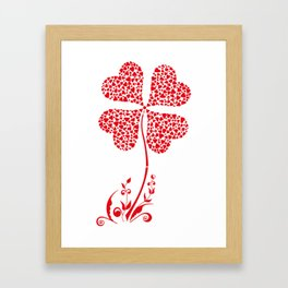 Lucky Four Leaf Clover Heart Valentine Flower Framed Art Print