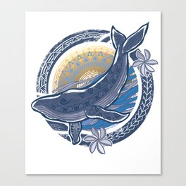 Vintage Circular Diving Tribal Humpback Whale Canvas Print