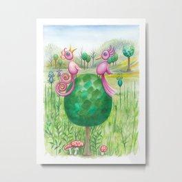 2 cute pink birds in a tree Metal Print