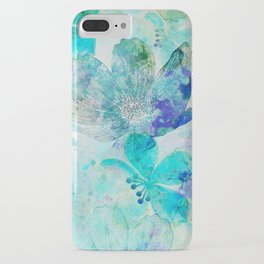 blue turquoise mixed media flower illustration iPhone Case