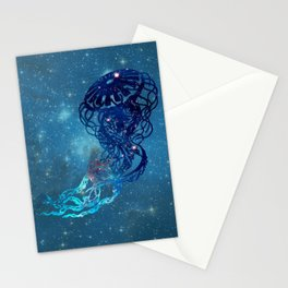 Blue Galactic Jelly Fish Stationery Cards