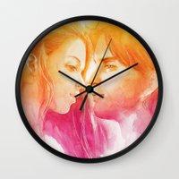 valentine Wall Clocks featuring Valentine by Aurora Wienhold