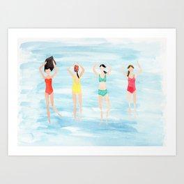 summer swimmers Art Print