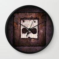 ed sheeran Wall Clocks featuring Block Ed by Sirenphotos