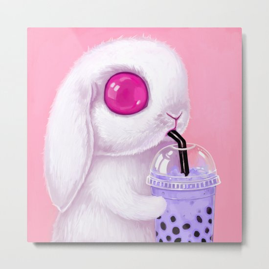 Bunny Loves Bubble Tea Metal Print