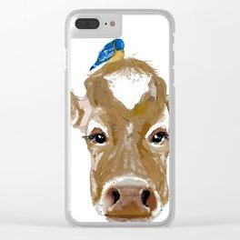 Bluebird Cow Clear iPhone Case