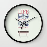 forrest gump Wall Clocks featuring Lab No. 4 - Forrest Gump Movies Inspirational Quotes Poster by Lab No. 4