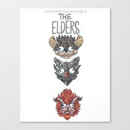 Monster Hunter World Elder Dragons Dropdown Version Canvas Print