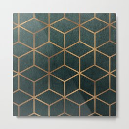 Dark Teal and Gold - Geometric Textured Gradient Cube Design Metal Print