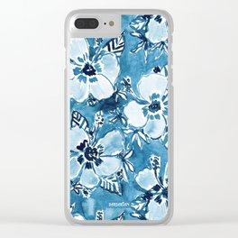 DANK DUDETTE Indigo Hibiscus Watercolor Clear iPhone Case