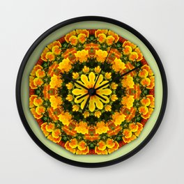 Floral mandala-style, California Poppies Wall Clock