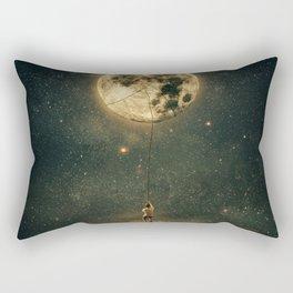 pulling the moon Rectangular Pillow
