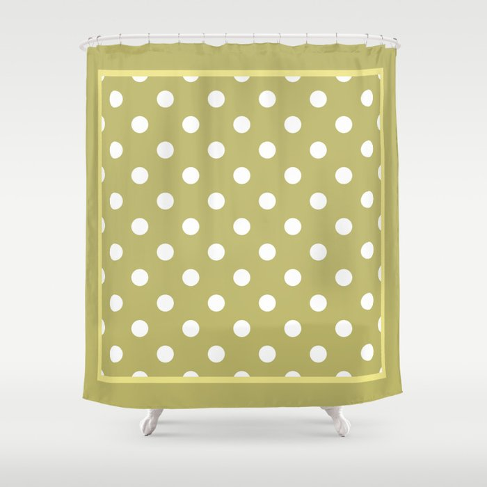 Khaki Polka Dots Palm Beach Preppy Shower Curtain By Cafepretzel