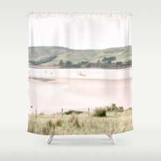 Boats on the water (color) Shower Curtain