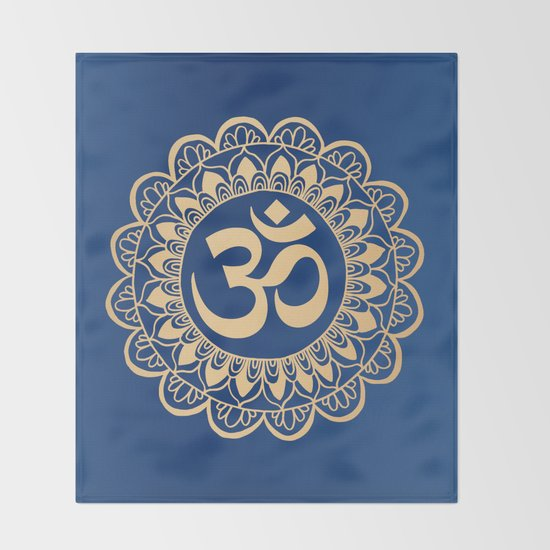 Blue and Gold Ohm Mandala by julieerindesigns