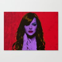 emma stone Canvas Prints featuring Emma Stone by Bolin Cradley Art