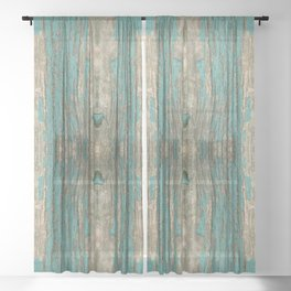 Weathered Rustic Wood - Weathered Wooden Plank - Beautiful knotty wood weathered turquoise paint Sheer Curtain