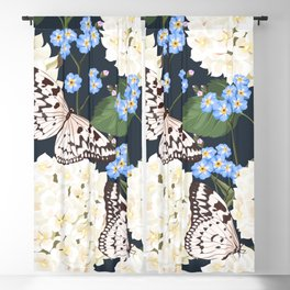 White Summer Hydrangea Black & White Butterflies Floral Kingdom Sumptuous Fantasy Flower Pattern Blackout Curtain